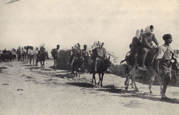 """In 1922-23 Near East Relief evacuated 22,000 children from ophanages in interior Turkey to Syria and Greece. These two pictures show part of the 5,000 children from Karput en route on donkey back and foot"""