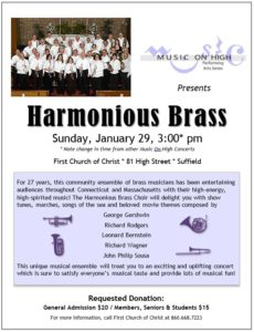 Music of High concert featuring Harmonious Brass @ First Church of Christ | Suffield | Connecticut | United States