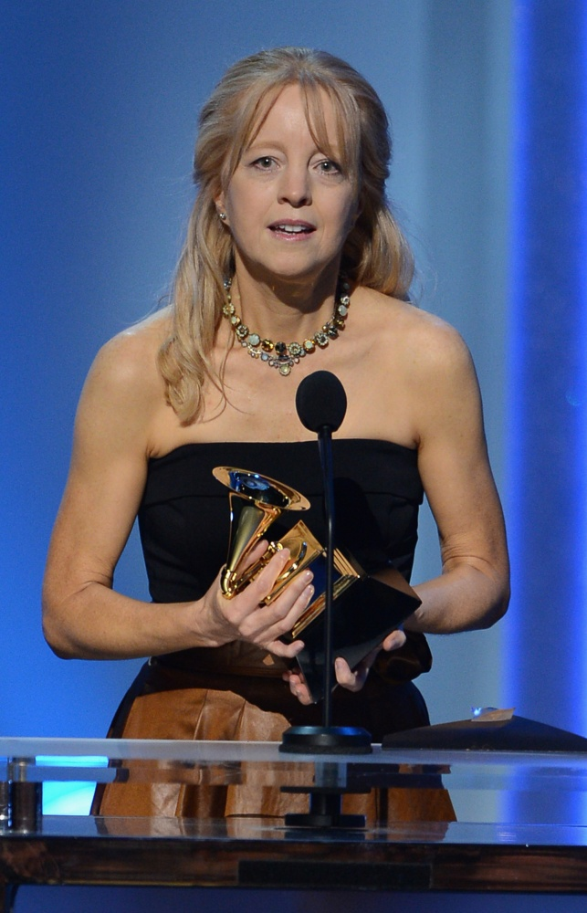 Composer and bandleader Maria Schneider accepts her Grammy Award. Her album Winter Morning Walks earned three awards yesterday at the pre-telecast Grammy ceremony in Los Angeles.
