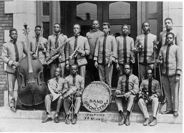 Walter Page at far left with Kansas City's Lincoln High School Cadet Band and Orchestra