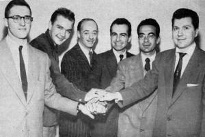 Al Cohn, Brew Moore, Dave Lambert in 1949; Chuck Wayne at far right; photo by Bill Crow