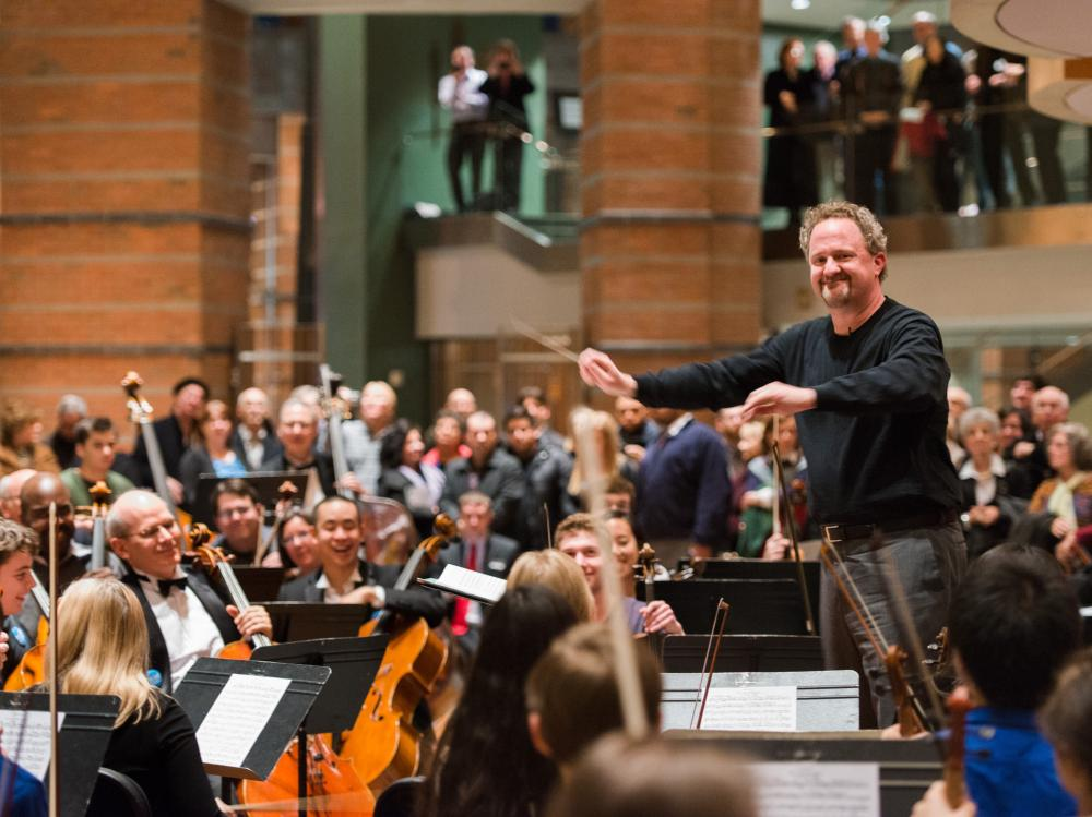 Conductor Jeffrey Grogan led a motley — but very happy — assembly of professional, student and amateur musicians at the New Jersey Symphony's #OrchestraYou project in Newark, N.J. Saturday.