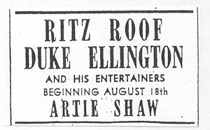 Ad for Ellington at the Ritz, August 1939