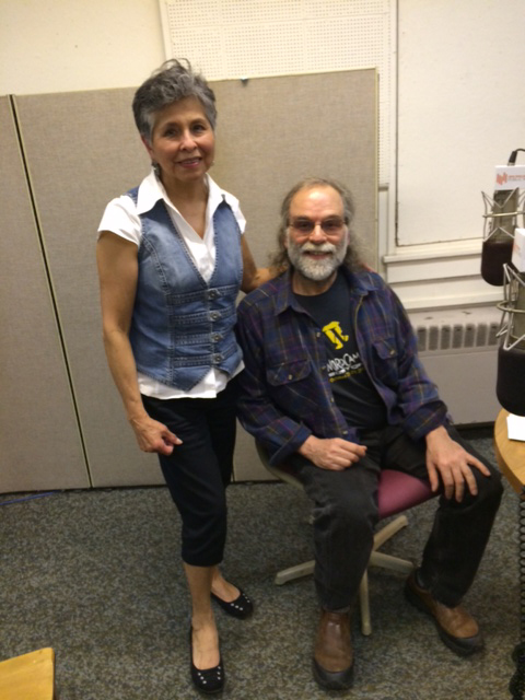 George Aguiar, a member of the Steering Committee with Climate Action NOW, Western Mass and Raquel Obregon, host of Tertulia