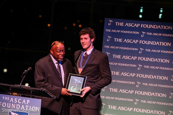 Stanley Crouch presents Gregory Agid with the ASCAP Louis Armstrong Scholarship