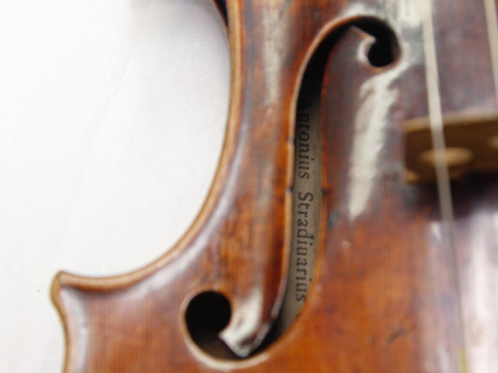 A Stradivarius violin at the restoration and research laboratory of the Musee de la Musique, Paris, in 2009.