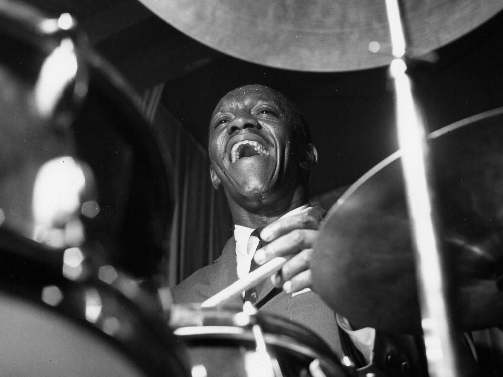 Drummer Art Blakey, who recorded for Blue Note from 1954 to 1965, in the studio.
