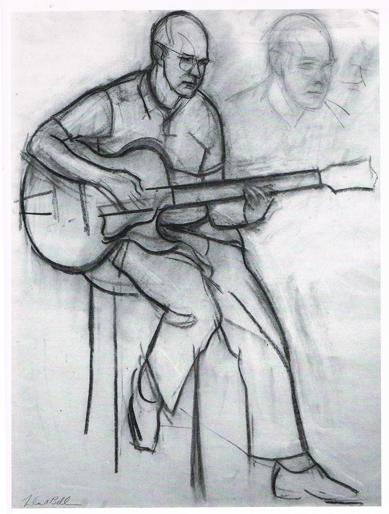 Leland Bell JIM HALL Charcoal on Paper 1979 ( 25 x 18.75 inches)
