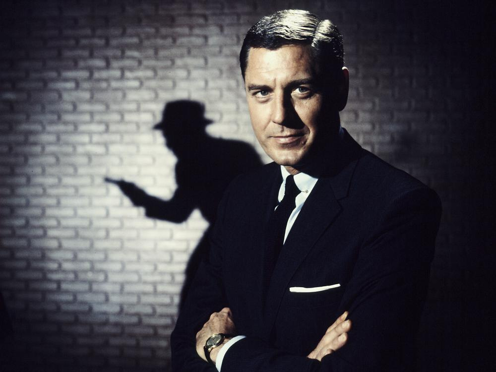 Actor Craig Stevens as TV detective Peter Gunn in 1959.