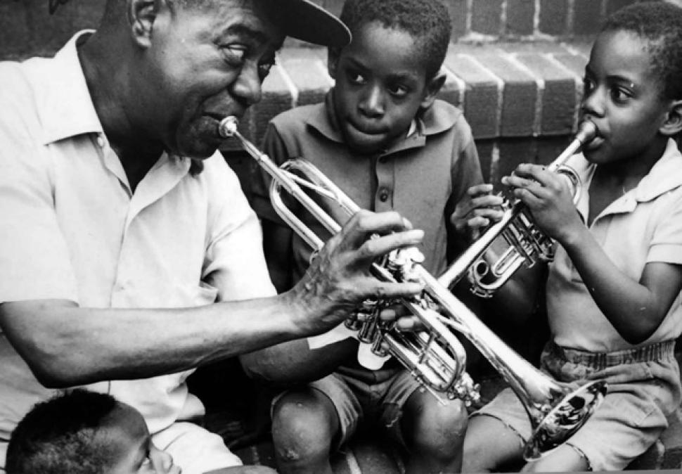 Louis Armstrong with neighborhood friends in Queens
