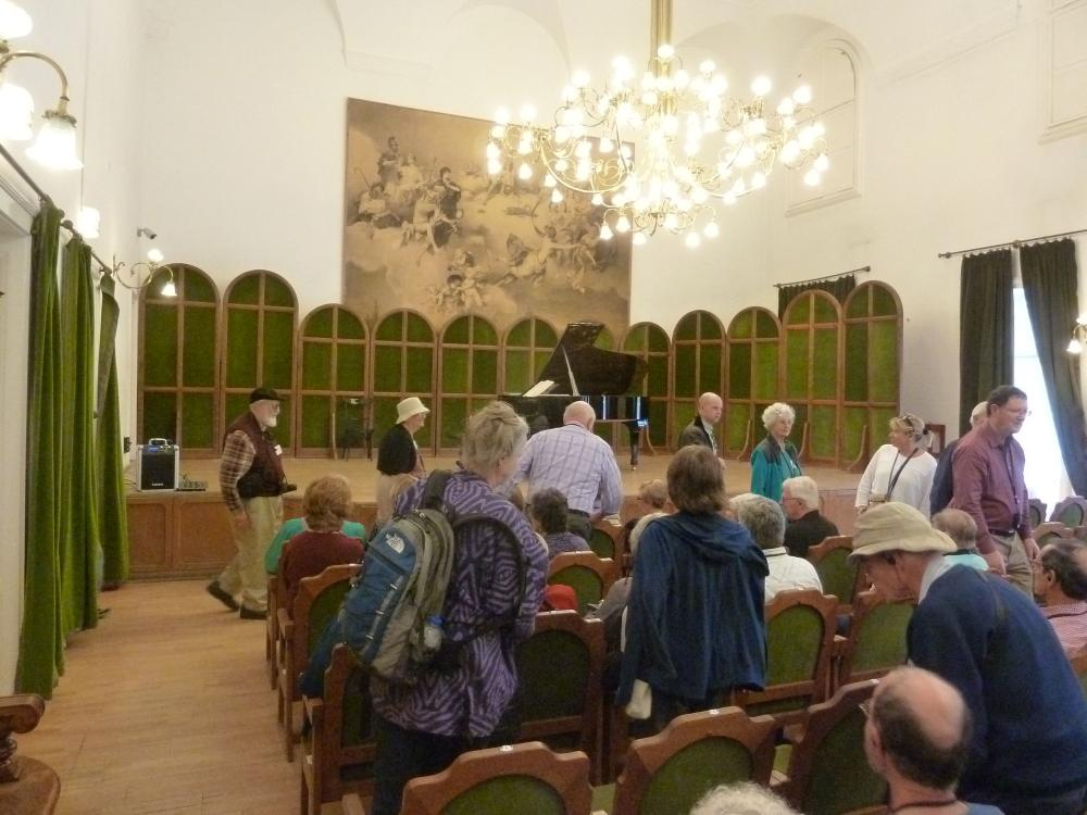 Beautiful Blue Danube travelers in the concert hall at the Franz Liszt Museum in Budapest