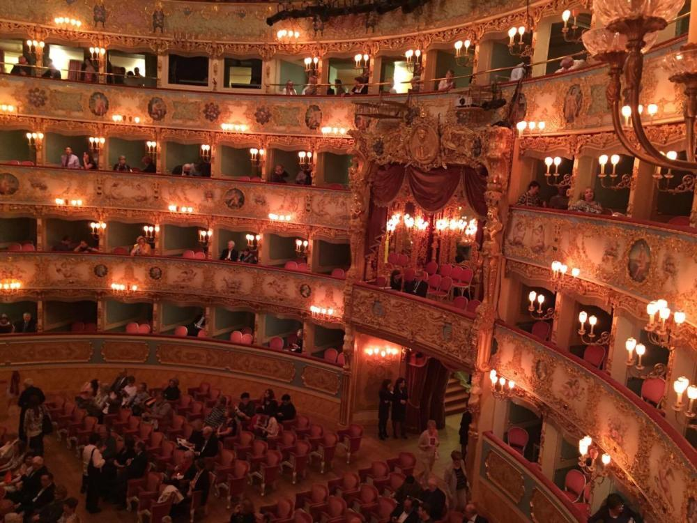 Awaiting the start of Donizetti's La Favorite in the beautifully restored La Fenice, Venice