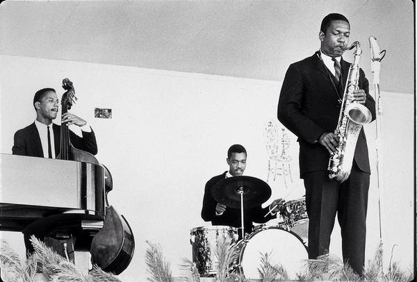 John Coltrane with Steve Davis and Billy Higgins at the Monterey Jazz Festival, 1960