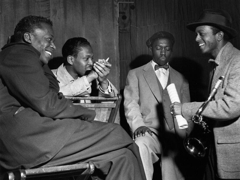 Miles Davis, Kenny Drew, Art Blakey, and Jimmy Heath, 1953; photo by Francis Wolff