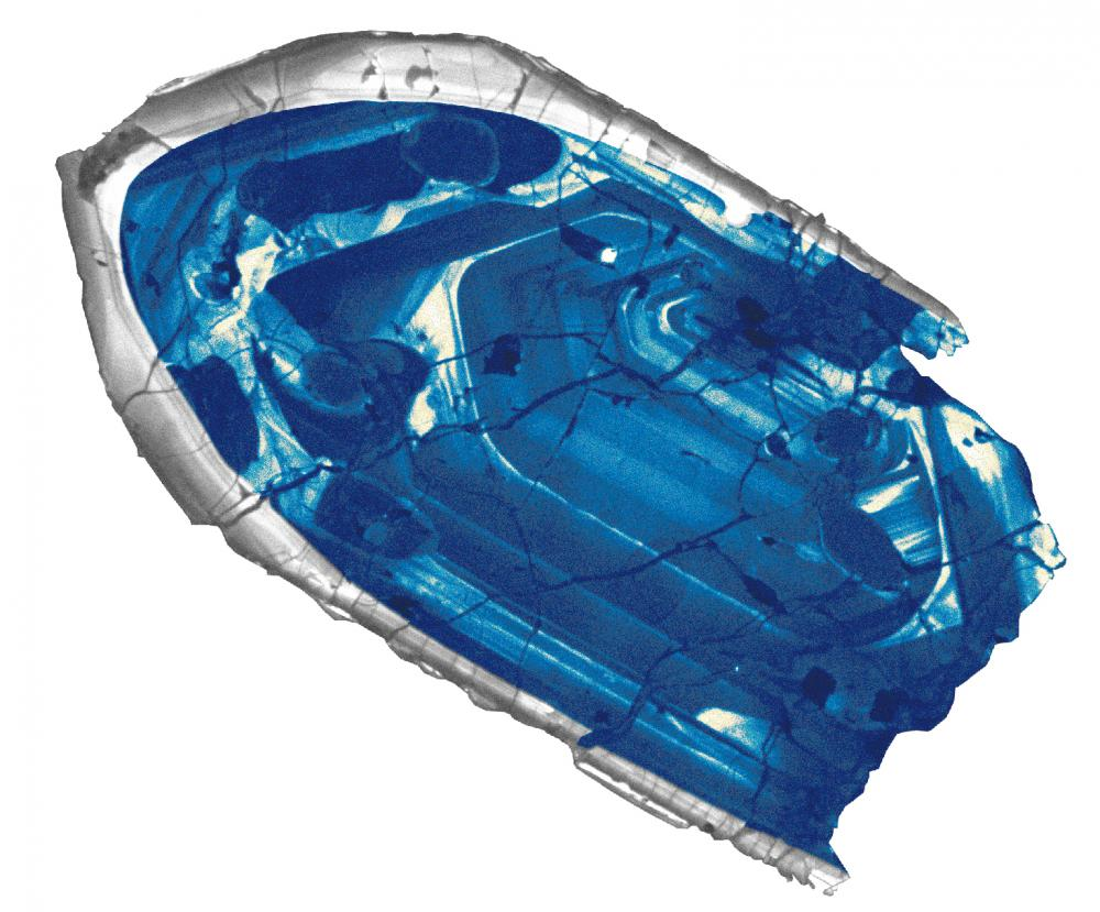 The colors of the zircon crystals range from transparent, to blue to deep red.