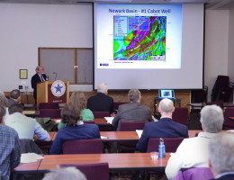 A research geologist with the U.S. Geologic Survey talks about the process of hydraulic fracking to access natural gas in New England during a conference in Dec. 2012 at UMass Amherst.
