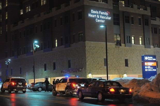 Springfield Police and state police on the scene outside the Baystate Medical Center during a standoff with a gunman on Feb. 18, 2014.