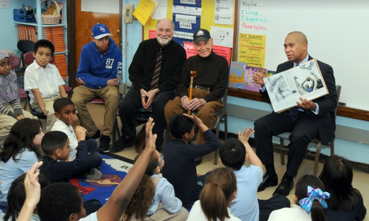"Governor Deval Patrick visited the William DeBerry School in Springfield in February 2014 in celebration of Black History Month. While at the school he read the book ""A Home Run for Bunny"" to the 3rd grade class."