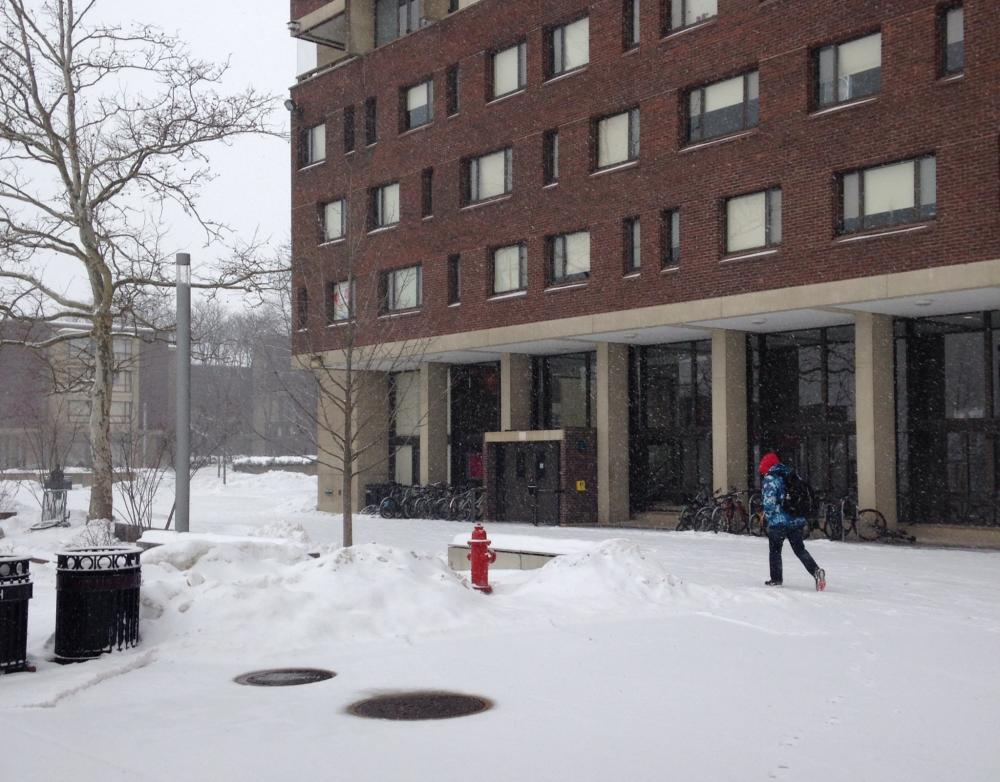 UMass cancels classes because of the snow on Feb. 13, 2014.