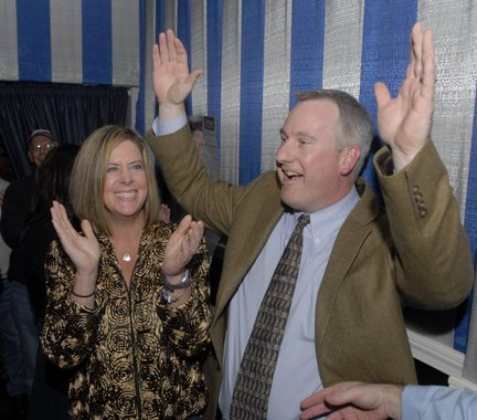 Dan Knapik celebrates his victory in the Westfield mayoral race in 2009, along with his wife, Tricia Knapik.
