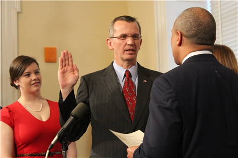 John Polanowicz is sworn in as Gov. Patrick's secretary of health and human services in January of 2013.