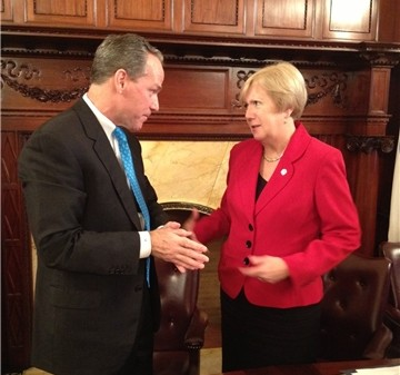 John Fish and Mass. Sen. Eileen Donoghue spoke after a Dec. 2013 meeting of the commission studying the feasibility of a 2024 Boston Summer Olympics.