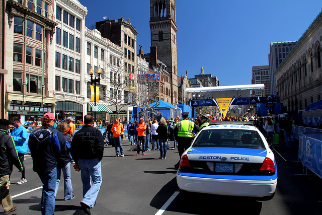 A view of the Boston Marathon finish line on the Sunday before the 2014 race.