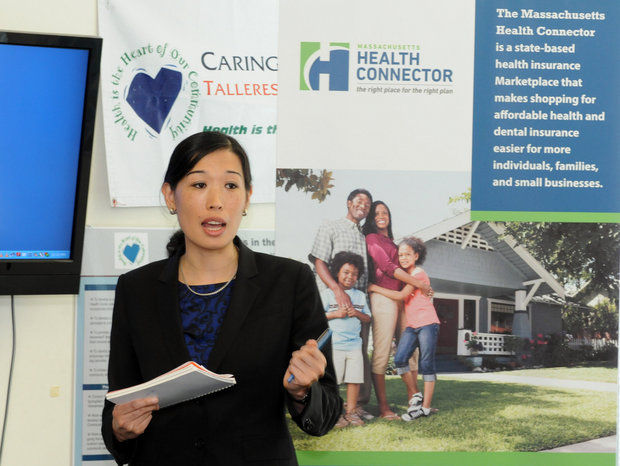 Jean Yang, head of the Health Connector, at a press conference in Springfield last September.
