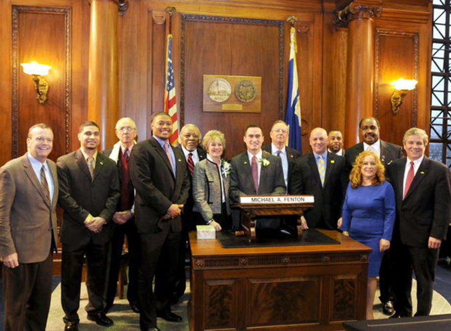 Springfield city councilors pose earlier this month after being sworn in to begin a new two-year term.