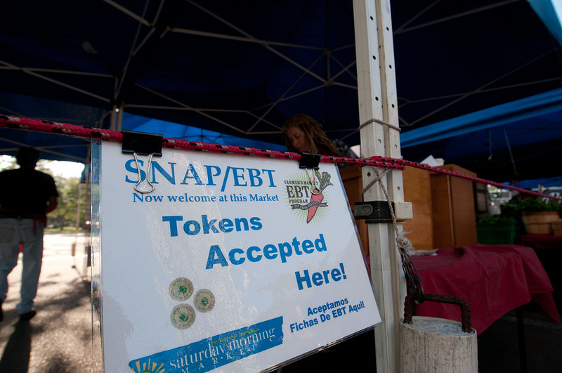 A farmer's market in St. Petersburg, Florida, accepting SNAP benefits in April of 2012.