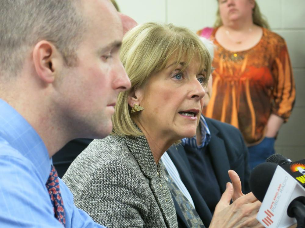Attorney General Martha Coakley speaking at an April 2014 press conference in North Adams with state Senator Ben Downing.