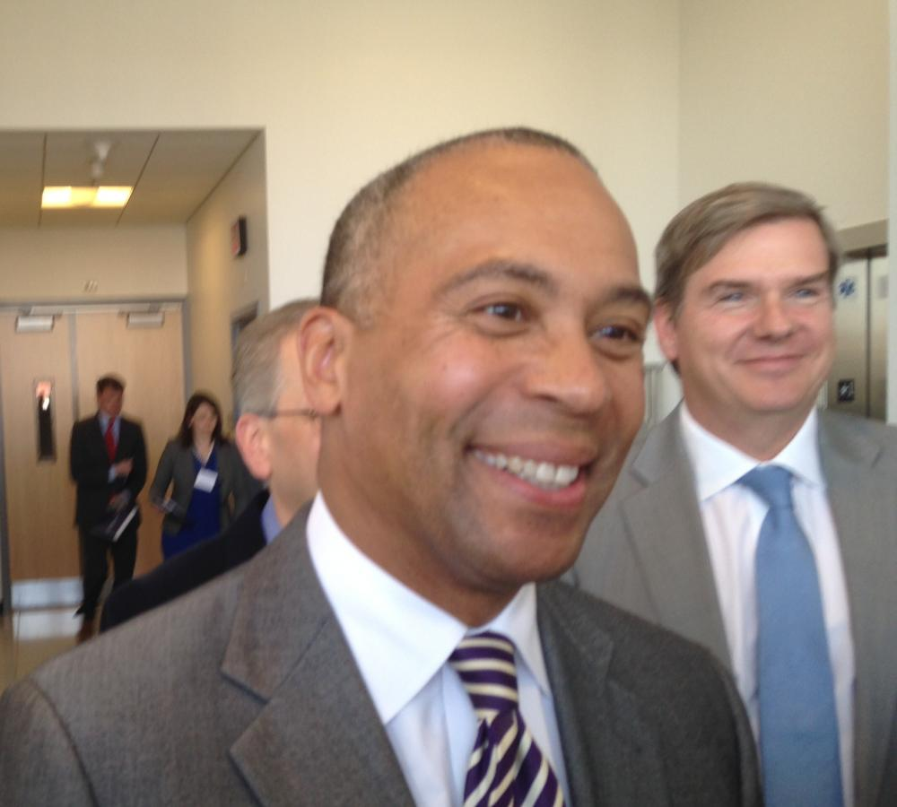 Gov. Deval Patrick and Economic Development Secretary Greg Bialecki in Holyoke in April 2014.