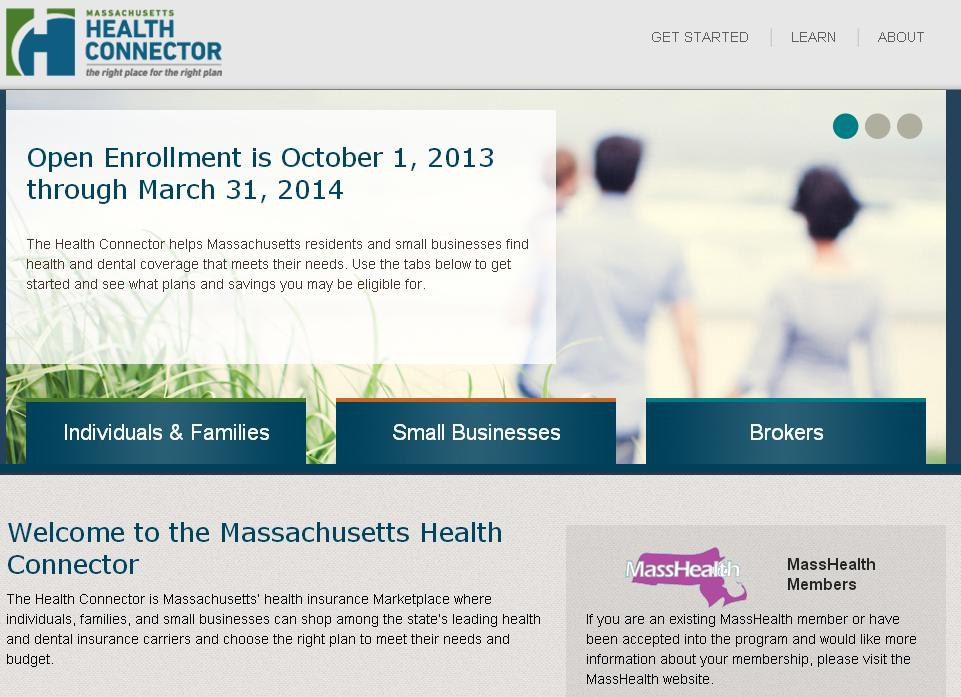 Home page of the Massachusetts Health Connector website