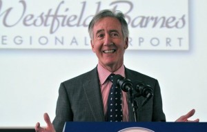 Congressman Richard Neal speaks at Westfield-Barnes airport in January 2014.