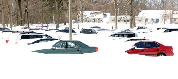 Cars buried at UMass Amherst in February 2013.