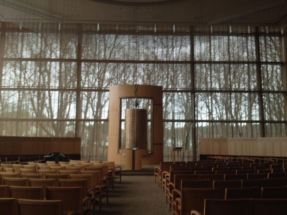 A view inside Temple Beth Elohim, in Wellesley, Massachusetts.