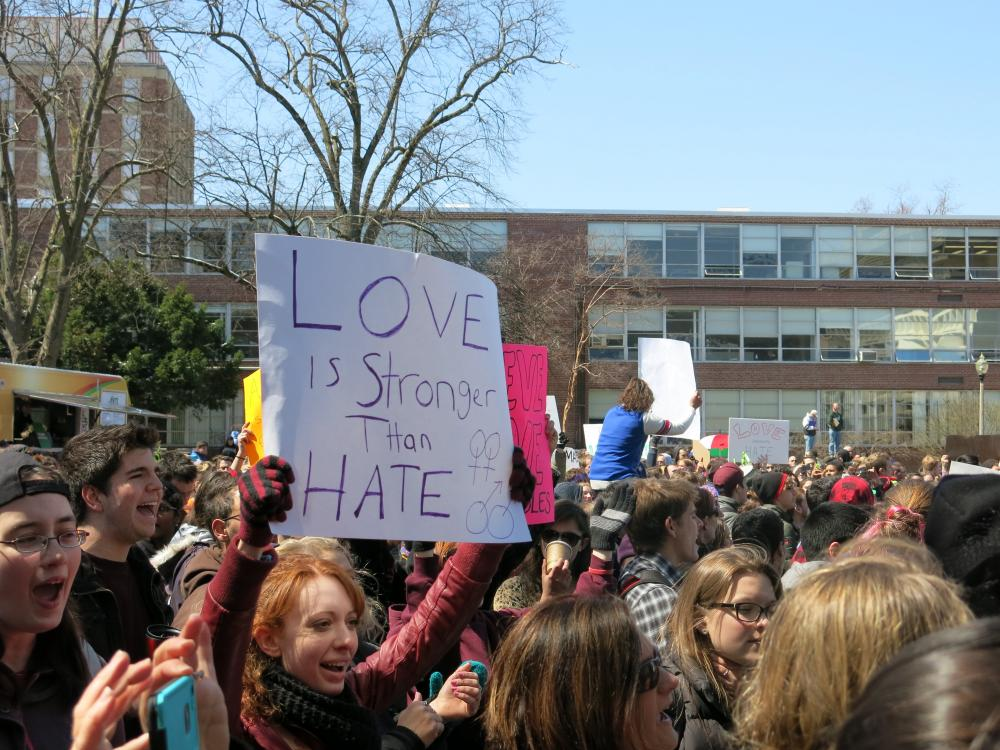 Hundreds rally in front of the UMass Student Union in support of the LGBTQ community.