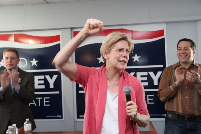 Sen. Elizabeth Warren campaigns for Ed Markey in Holyoke in June 2013.