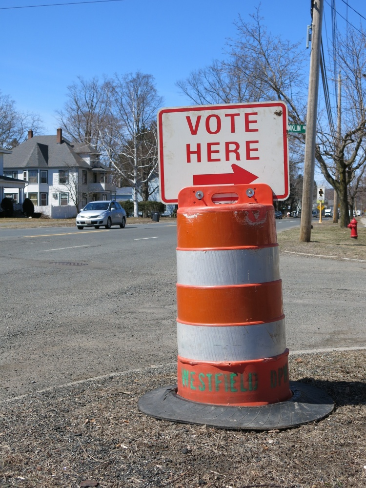 A sign in Westfield, Mass., during a special election for state House on April 1, 2014.
