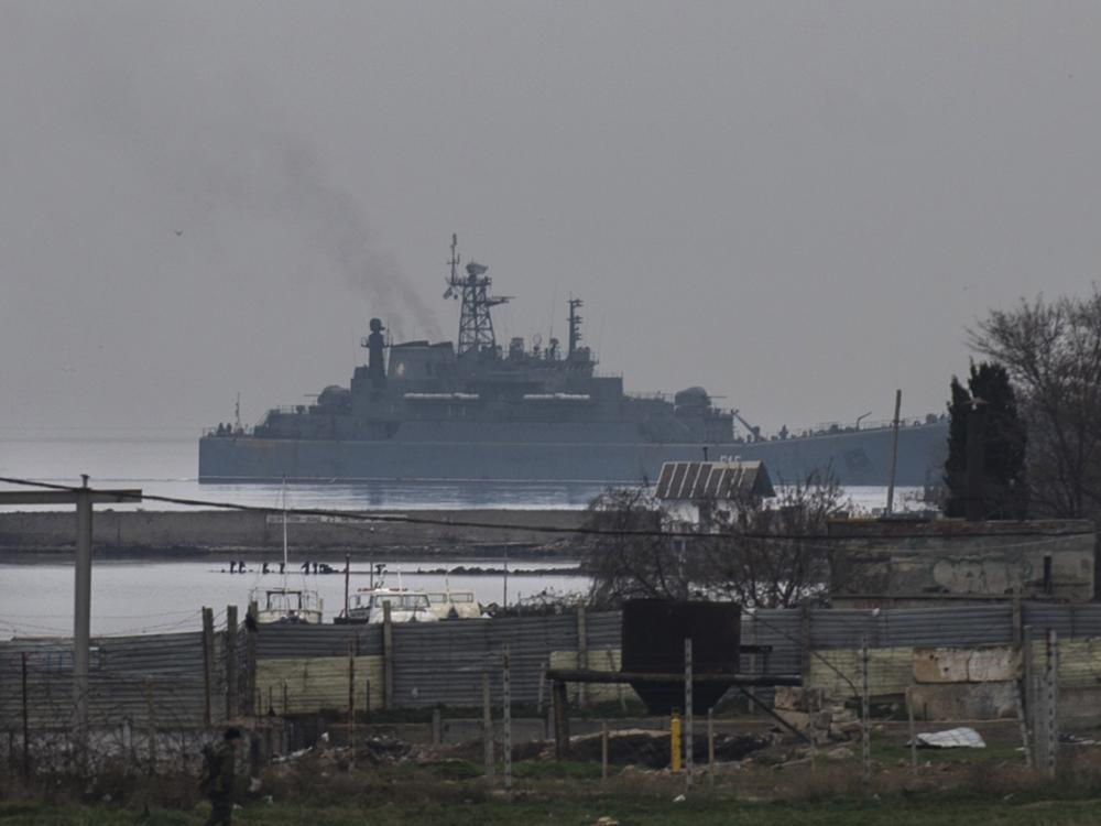 A Russian naval landing vessel enters one of the bays of Sevastopol, Crimea, on Sunday.