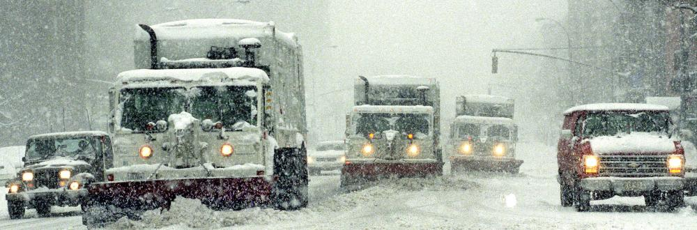 Snow plows in Manhattan during the Blizzard of 1993.