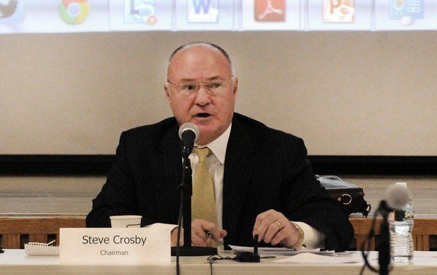 Massachusetts Gaming Commission Chairman Steve Crosby speaks at Suffolk University last year.