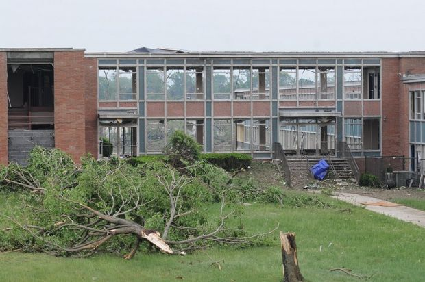 Cathedral High School's science wing, following the 2011 tornado.