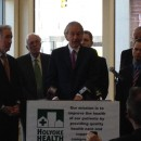 Sen. Ed Markey, flanked by other public officials, speaks about opiate addiction in Holyoke.