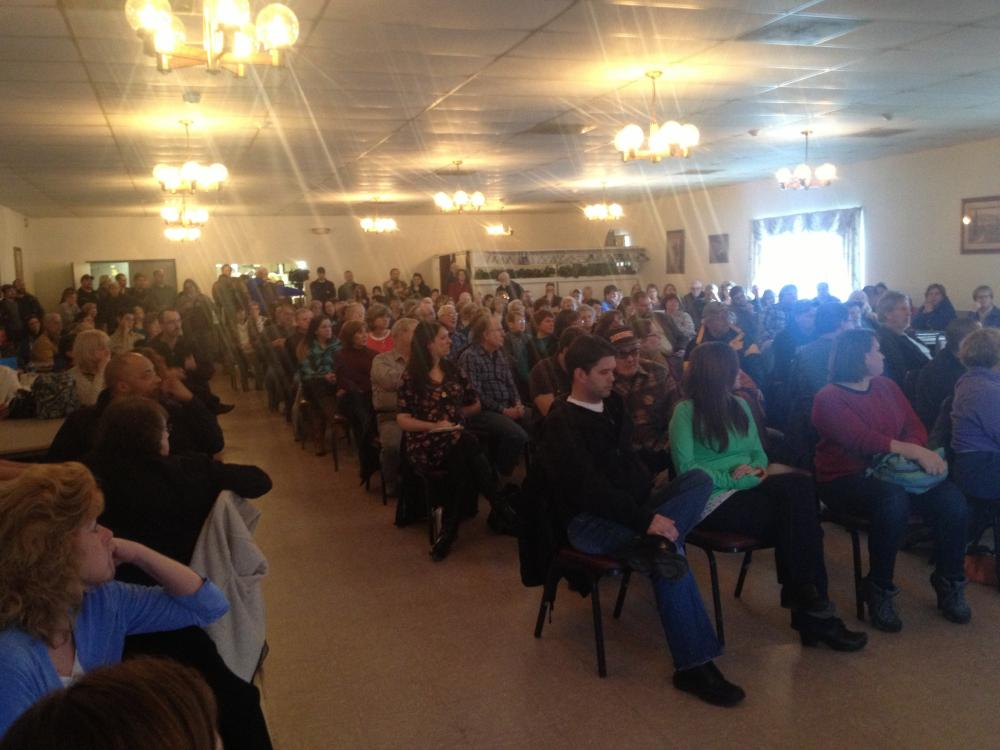 At the American Legion hall in North Adams, Mass., a few hundred hospital supporters attend a meeting in late March 2014 organized by the nurses' union.