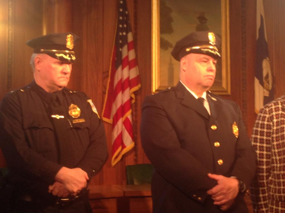 Police Commissioner William Fitchett (left) with deputy chief and incoming commisioner John Barbieri at city hall on March 19, 2014.