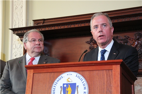 House Speaker Robert DeLeo and Rep. Hank Naughton unveil new gun control legislation on May 27, 2014.