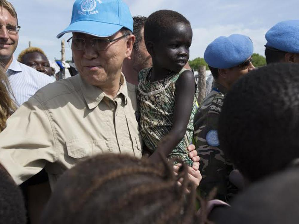 U.N. Secretary General Ban Ki Moon holds a child in a refugee camp in Juba, South Sudan, on  Tuesday. There have been increased calls for a contingent of African troops to be involved in peacekeeping operations.