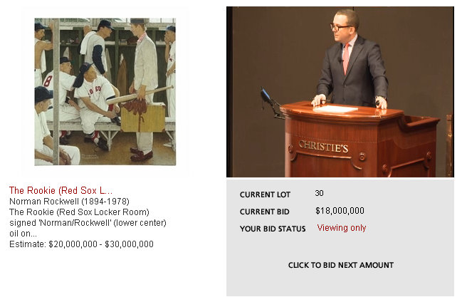 Screen grab during Christie's auction of the Normal Rockwell painting The Rookie.