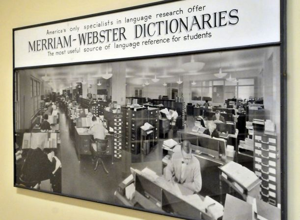Undated photograph of the research section of Merriam-Webster hanging in the lower area of the company's headquarters.